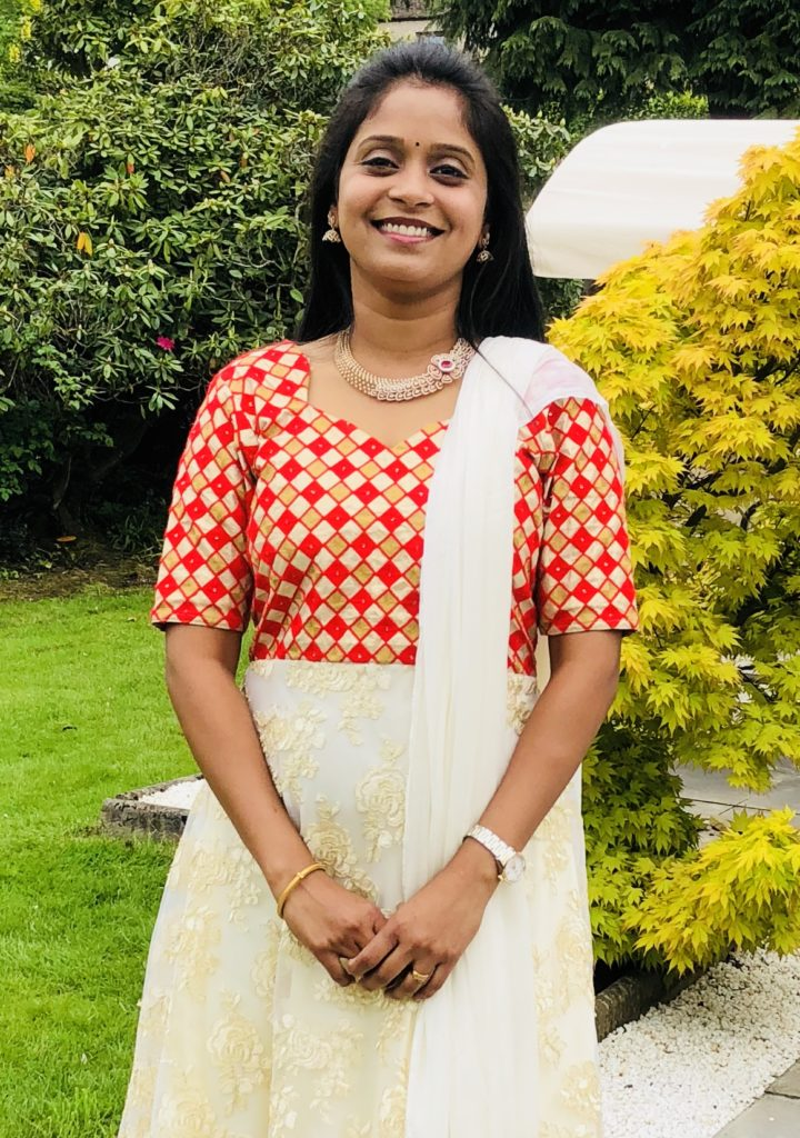 Swarna Kumar in the garden of Indian Cook School Scotland