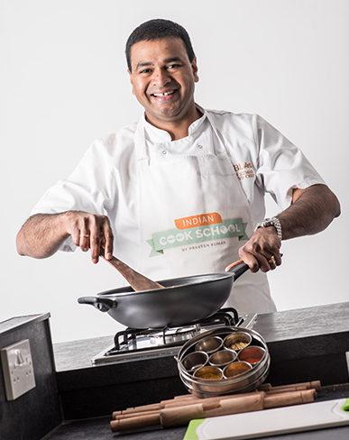 Praveen Kumar cooking demonstration at Indian Cook School Scotland