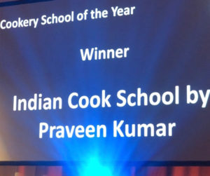 Winning Cookery School of the Year at the Food Awards Scotland announcement in lights